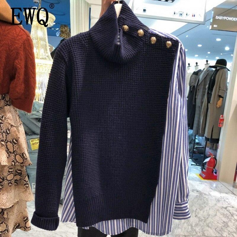 [EWQ] 2019 Spring Autumn High Quality Stand Collar Long Sleeve Fake Two Piece Streetwear Sweater Women Fashion Tide AH40017XL