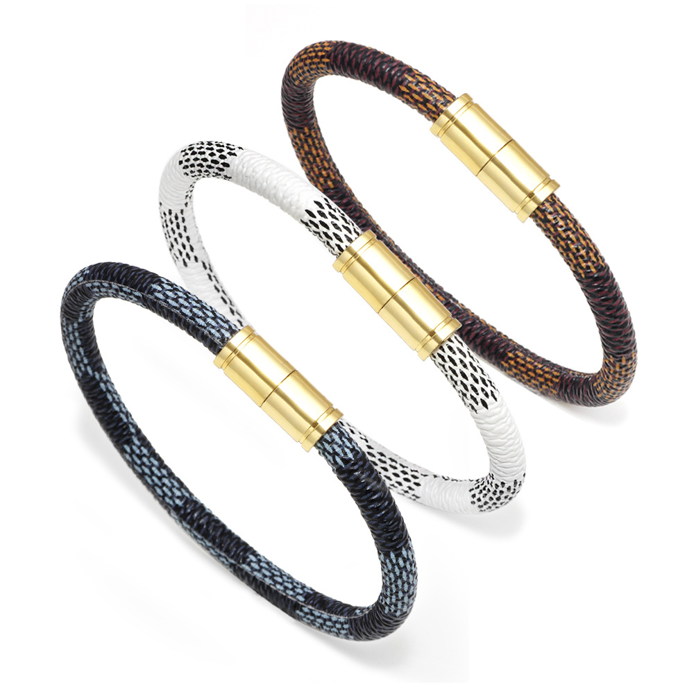 2020, new style, fashion, plaid, leather, men's bracelets, women's bracelets, jewelry, magnetic clasps, gift bracelets