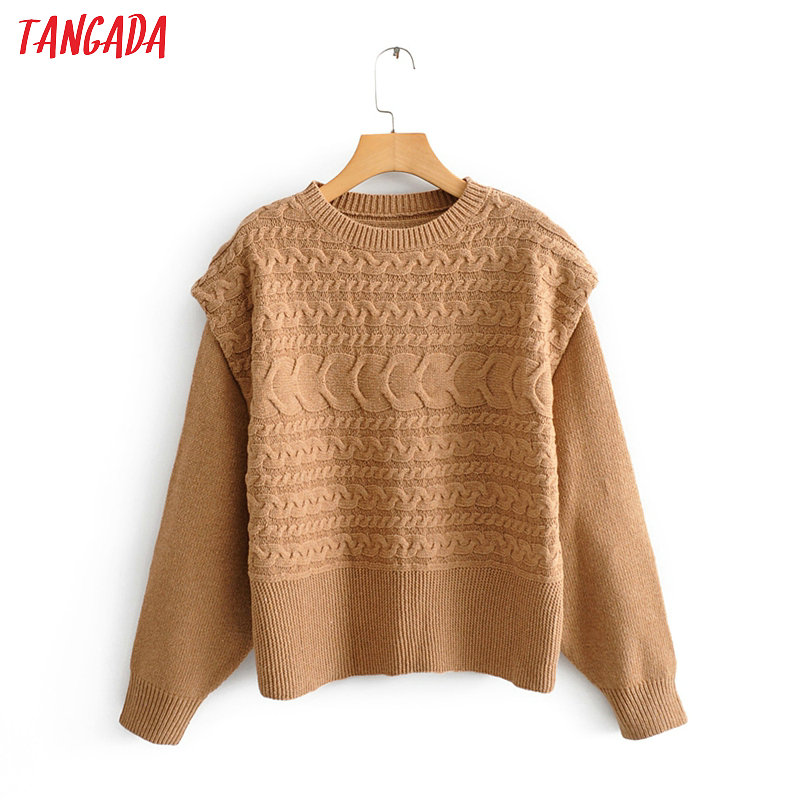 Tangada Korea Chic Women Khaki Twist Jumper Sweater Long Sleeve O Neck Vintage Ladies Knit Wear Tops QJ138