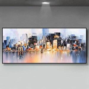 Image 3 - Decoración de la boda pintado a mano pintura al óleo sobre lienzo moderno de gran tamaño Arte Abstracto Decoración de casa colgar de la ciudad lluviosa construir