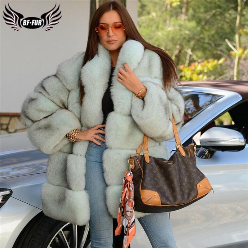 2019 New Natural Real Fur Coat For Women Full Pelt Genuine Blue Fox Fur Jacket With Collar Winter Thick Warm Fox Fur Coats Woman