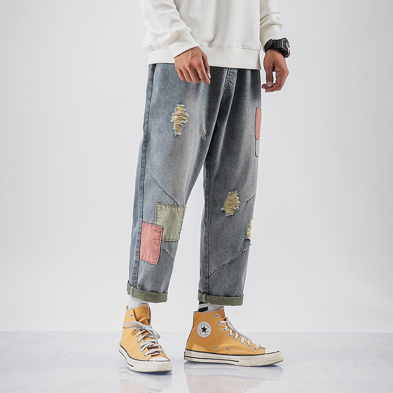 IiDossan Japanese Harajuku Straight Denim Mens Jeans Regular Patchwork Elastic Waist Streetwear Pants Men New Fashion Hot Sale
