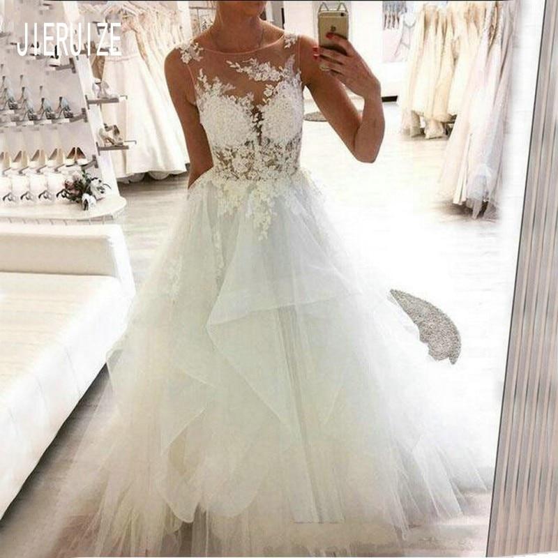 JIERUIZE Beach Sheer Corset Wedding Dresses Scoop Neck Ruffles Tulle A Line Bride Dresses  Lace Appliques Vestido De Noiva