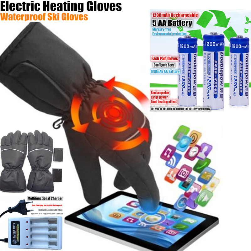 Clearance Smart Electric Heating Gloves,use AA Battery 5 Finger&Hand Back Self Heated Waterproof Ski Gloves Touch Screen Gloves