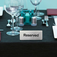 Reusable Double Sided Stainless Steel Table Sign Card Holder Tabletop Reserved Signs For Cafes Hotels Restaurants Bar