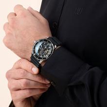 Reef tiger/rt esporte relógios para homem cinta de náilon automático super luminoso aço relógio de mergulho com data rga3035