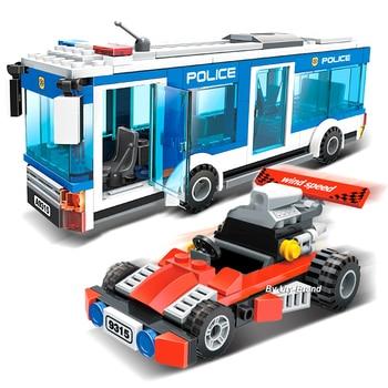 цена на GUDI 9315 Fit City Police Station Police Bus Car Set Mini Figures 256Pcs Educational Building Blocks DIY Toys For Children Gifts
