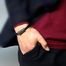 Natural Hematite Stone Men Bracelet Black PU Leather Buckle Bangle 21cm Male Jewelry Charm