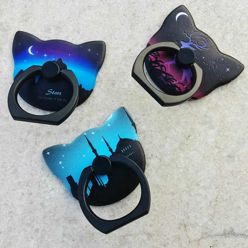 Kẹp điện thoại mô hình dạ quang điện thoại di động Mèo Lười đầu khóa Dành Cho điện thoại di động 360 Độ Quay Dạ Quang Nhẫn