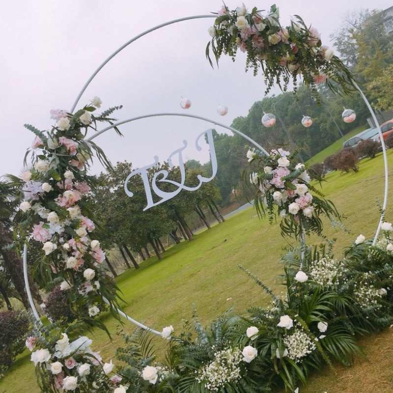 Bruiloft Alat Peraga Verjaardagsfeestje Dekorasi Smeedijzeren Cirkel Ronde Cincin Boog Achtergrond Boog Gazon Kunstmatige Bloem Rij Berdiri