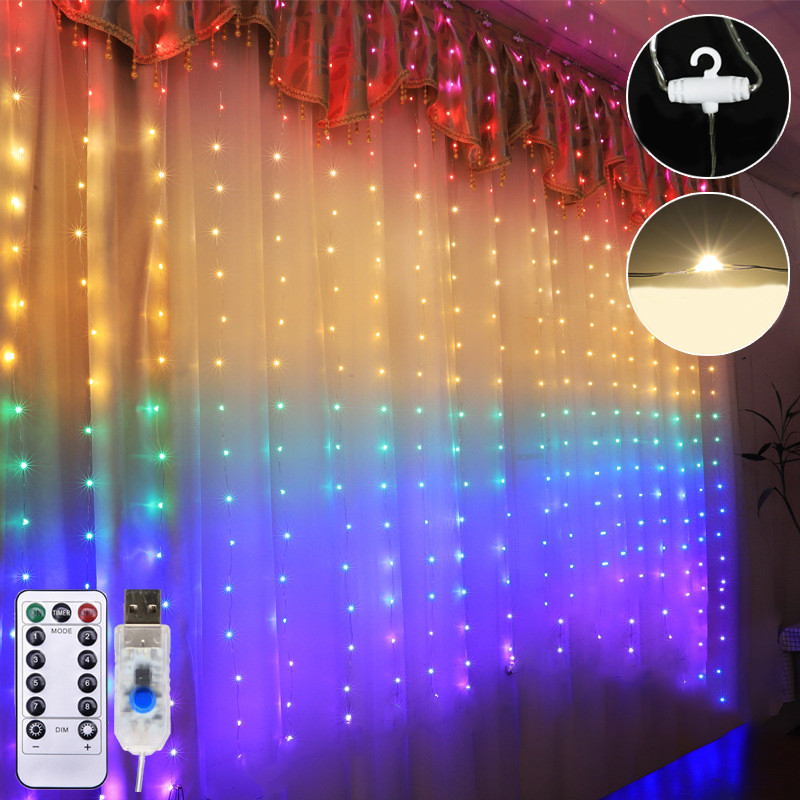 1.5 * 2M LED Rainbow Curtain Light USB Eight Function Mode Fairy Lights String Christmas Wedding Party Indoor Outdoor Decoration
