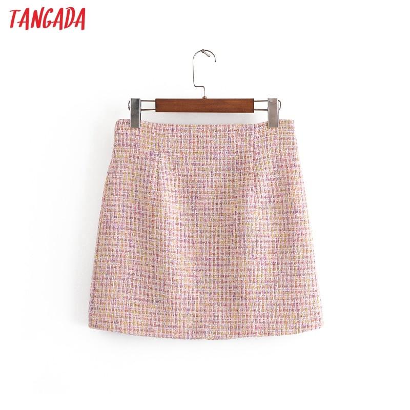 Tangada 2020 autumn winter women plaid tweed skirts faldas mujer back zipper female pink mini skirt 3H263