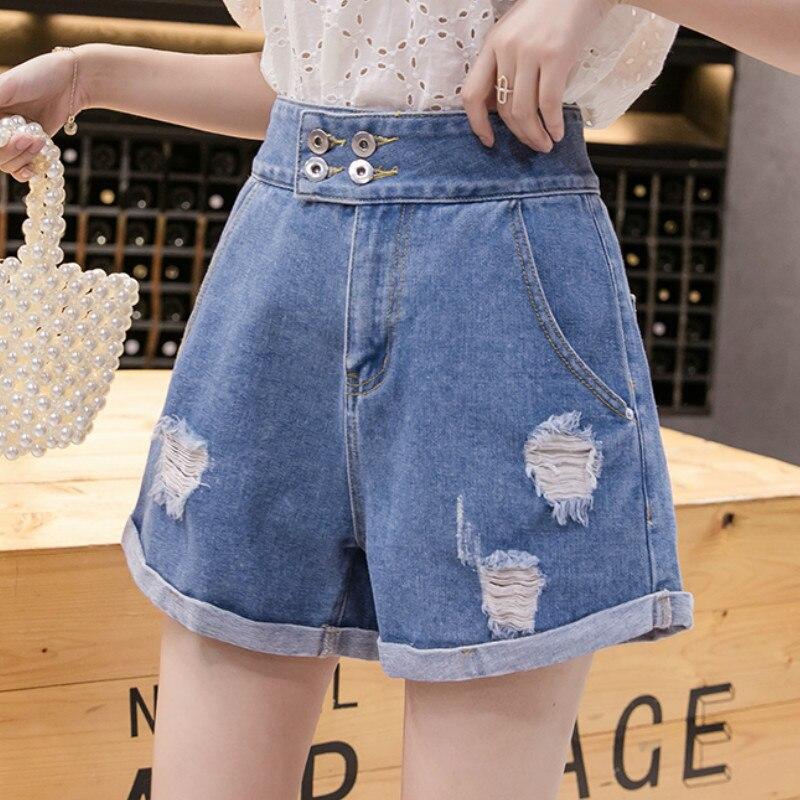 Plus Size Summer Ripped Hole Roll Hem Short Jeans Denim Shorts For Women S M L XL 2XL 3XL 4XL 5XL
