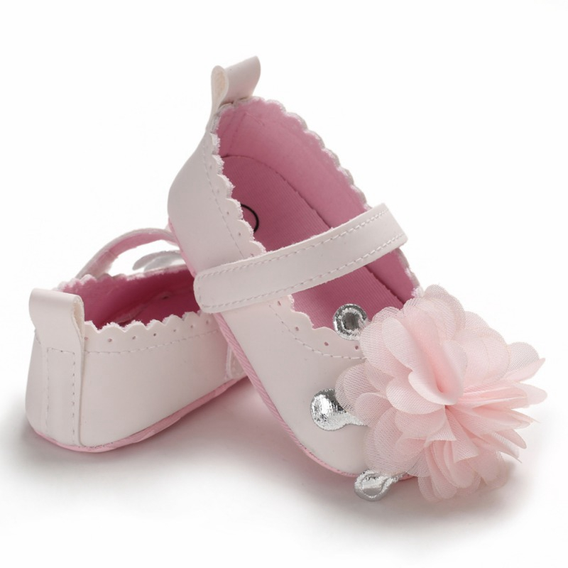 0-12M Spring Flower Baby Girls First Walkers Soft Sole Non-Slip PU Princess Casual Shoes