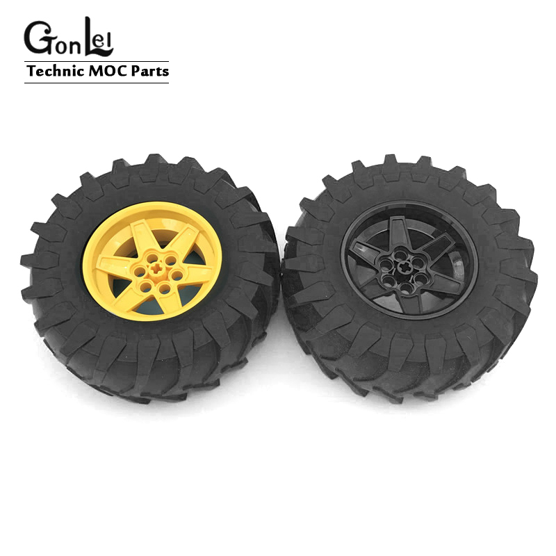 2Pcs/lot MOC Brick <font><b>Technic</b></font> Wheel 107*44mm ZR Rim Wheel+Tire Hub 23798+15038c05 fit with <font><b>42054</b></font> Building Blocks Car kids gifts image