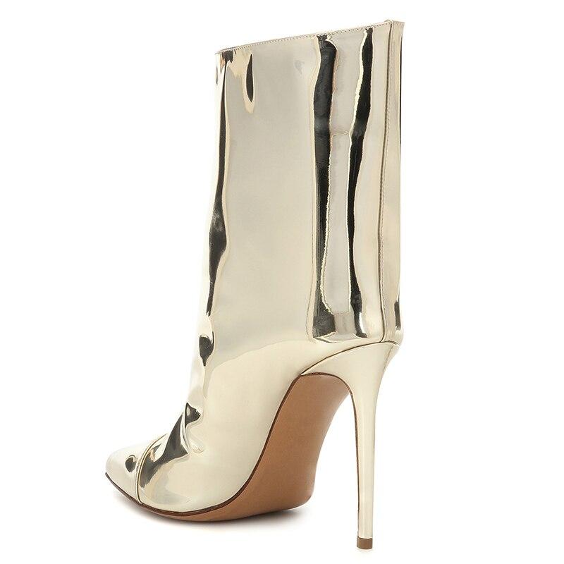 Bottines dorées pour femmes chaussures femme 2019 bout pointu chaussons à talons hauts mode dames botte courte femmes automne chaussures - 3