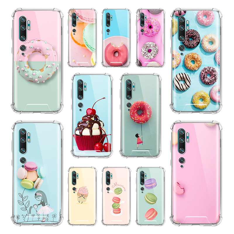 Macarons Cupcake Case For Xiaomi Mi Note 10 9 CC9 9T Pro 5G CC9E A2 Lite X2 Airbag Anti Fall TPU Phone Coque