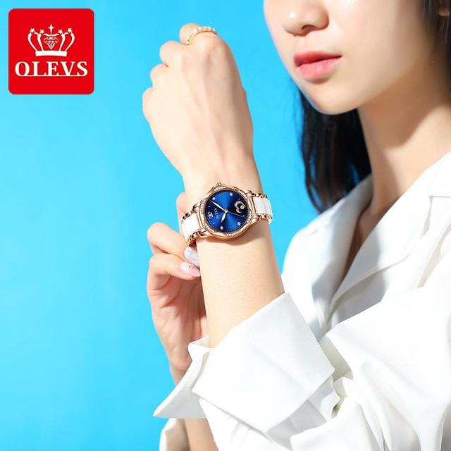 New Fashion OLEVS Luxury Brand Women Mechanical Watch Ceramics Watch Strap Automatic Mechanical Watches for Women Gift for Women 2