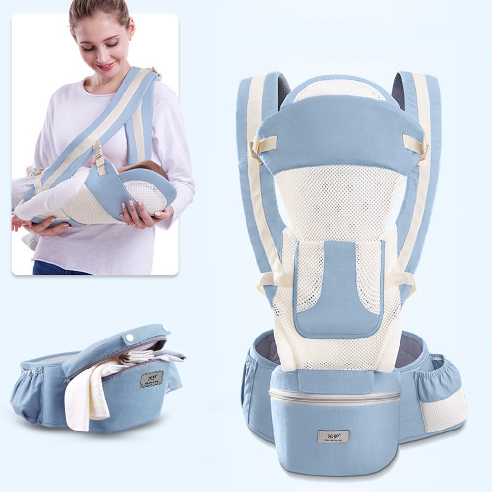 Ergonomic 3 In 1 Baby Wrap Carrier Infant Kid Baby Sling Hold Waist Belt Baby Carrier Seat With Large Capacity Storage Bags