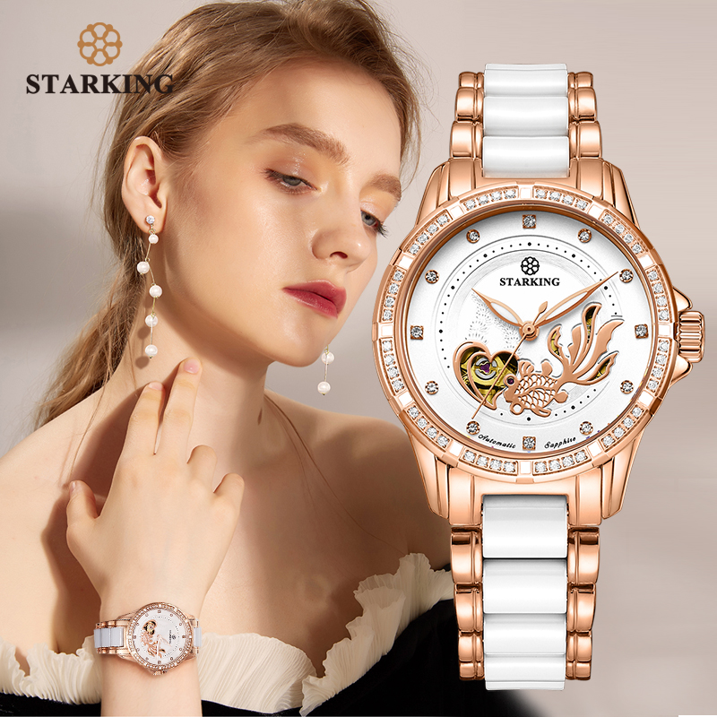 STARKING Womens Mechanical Watch Automatic Self-wind Wrist Watch 50M Waterproof Ceramic & Steel Female Clock Vintage Timepieces