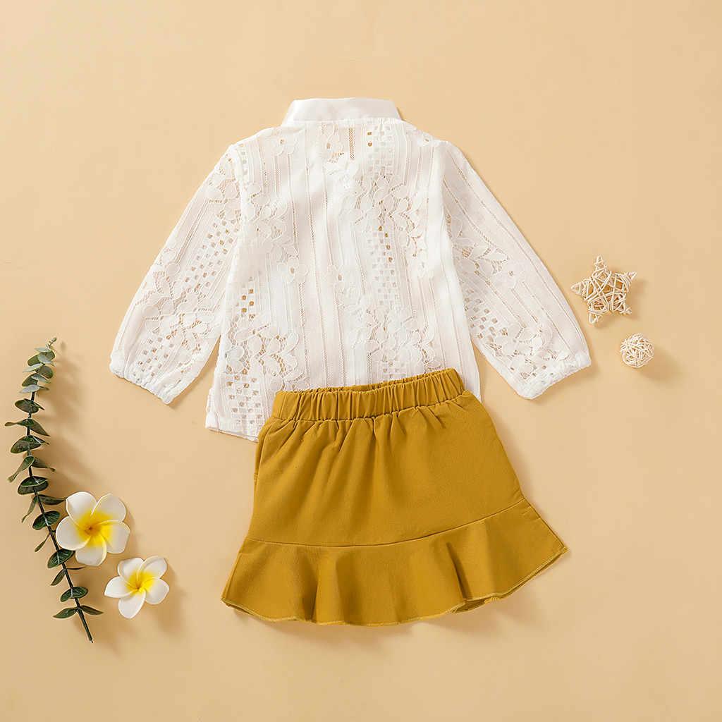 אביב קיץ ילדים בנות בגדים סטים ארוך שרוול מוצק תחרה חולצה חולצות + חצאיות תלבושות סטים לפעוטות בנות בגדי סטים חליפה