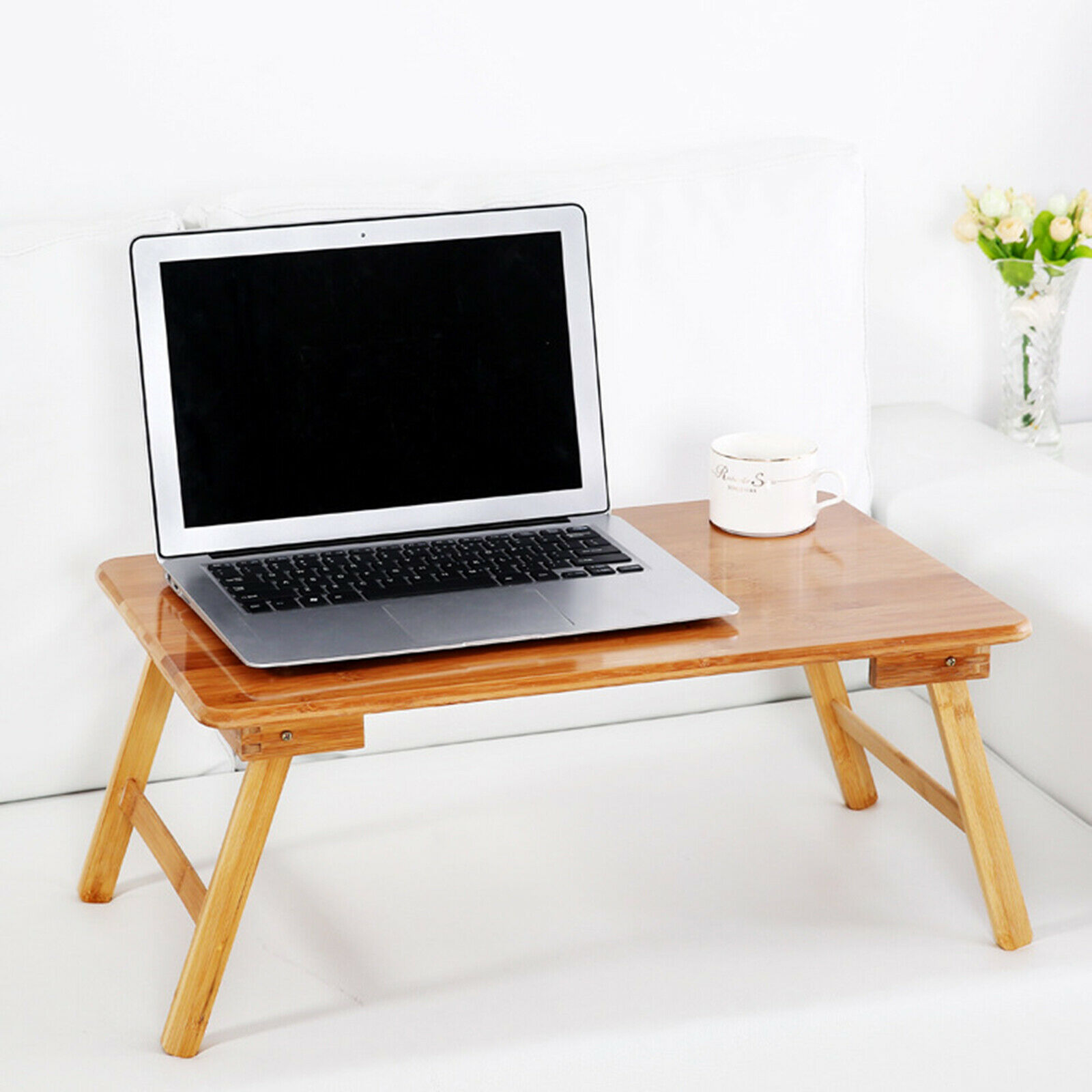 Bamboo Folding Laptop Foldable Legs Lap Desk / Bed Tray Fit For 17 In Laptop