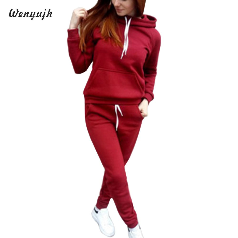 WENYUJH 2 Piece Set Women Hoodies Pant Clothing Set Warm Newest Clothes Ladies Solid Tracksuit Women Set Top Pants Suit Female