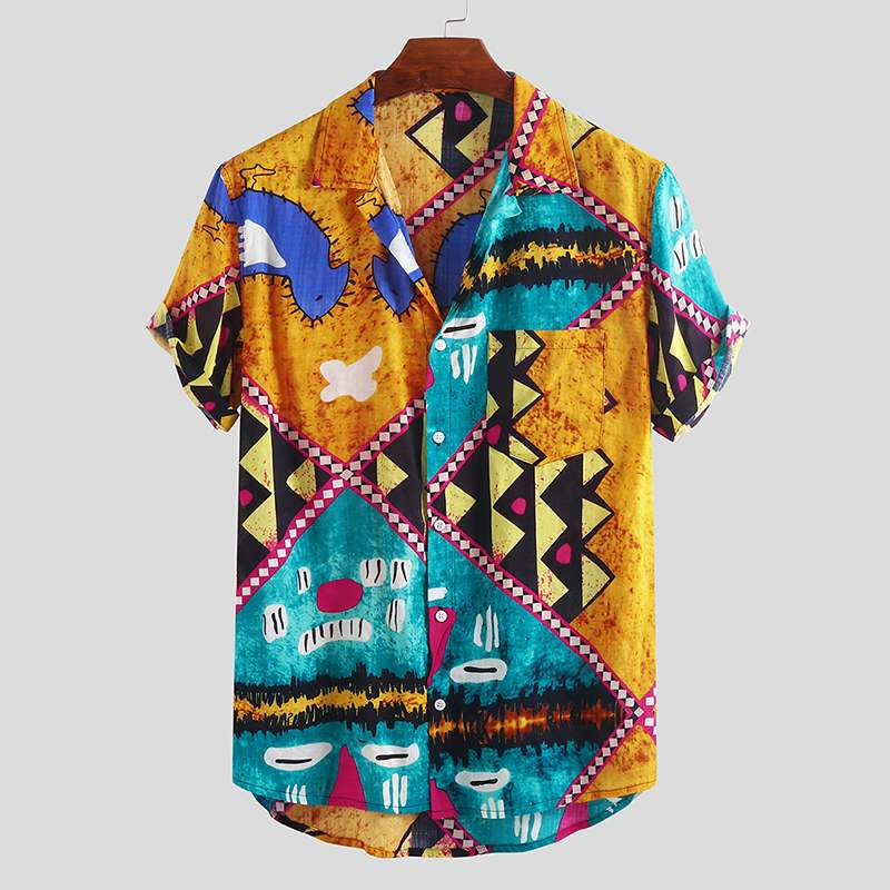 Spring 2020 Hot Sale Men's New Shirts Patckwork Printed Summer Beach Short Sleeve Shirt Holiday Hawaiian Shirts Workout Wear
