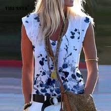 Elegante Frauen Sommer Floral Druck Weste Top Mode Sexy Sleeveless Lose Blusen Shirts Casual O Neck Blusas Pullover Streetwear