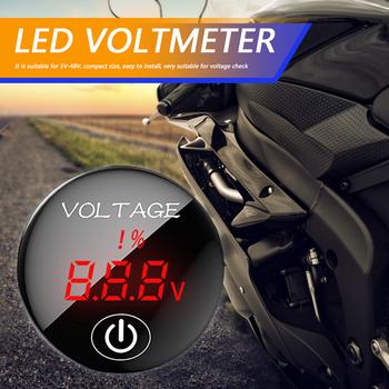 strong Import List strong DC 5-48V wyświetlacz cyfrowy woltomierz wyświetlacz LED miernik napięcia Tester pojemności akumulatora z przełącznikiem dotykowym do samochodu Auto motocykl tanie i dobre opinie CN (pochodzenie)