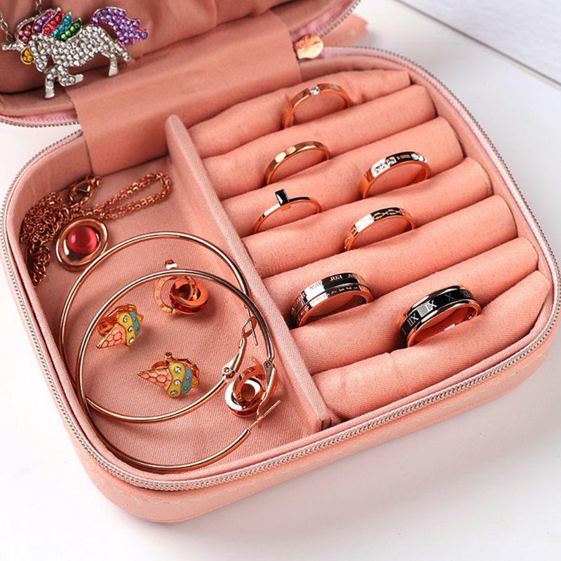 Simples impresso caixa de exibição jóias do plutônio criativo portátil brincos anel pulseira colar organizador armazenamento - 4