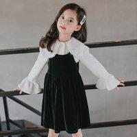 Girls Clothing Dress Pearl Petal Pan Collar Petal Sleeve Top + Flannel Black Slip Evening 2PCS Party Princess School Dress Girls