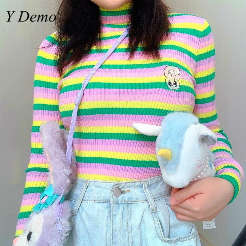 Sweet Girl Colorful Stripes Turtleneck Sweater Slim Women Knitting Sweaters