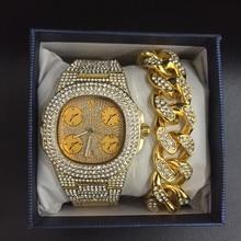 Для мужчин часы мода алмаз Автоматическая Дата кварцевые часы для мужчин золото нержавеющая сталь бизнес часы для мужчин Diamond золотые часы
