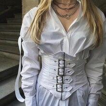 White Blouse With Belt Female Basic Lapel Collar Long Sleeve Shirt Tunic Irregular Belts 2019 Summer OL Clothing