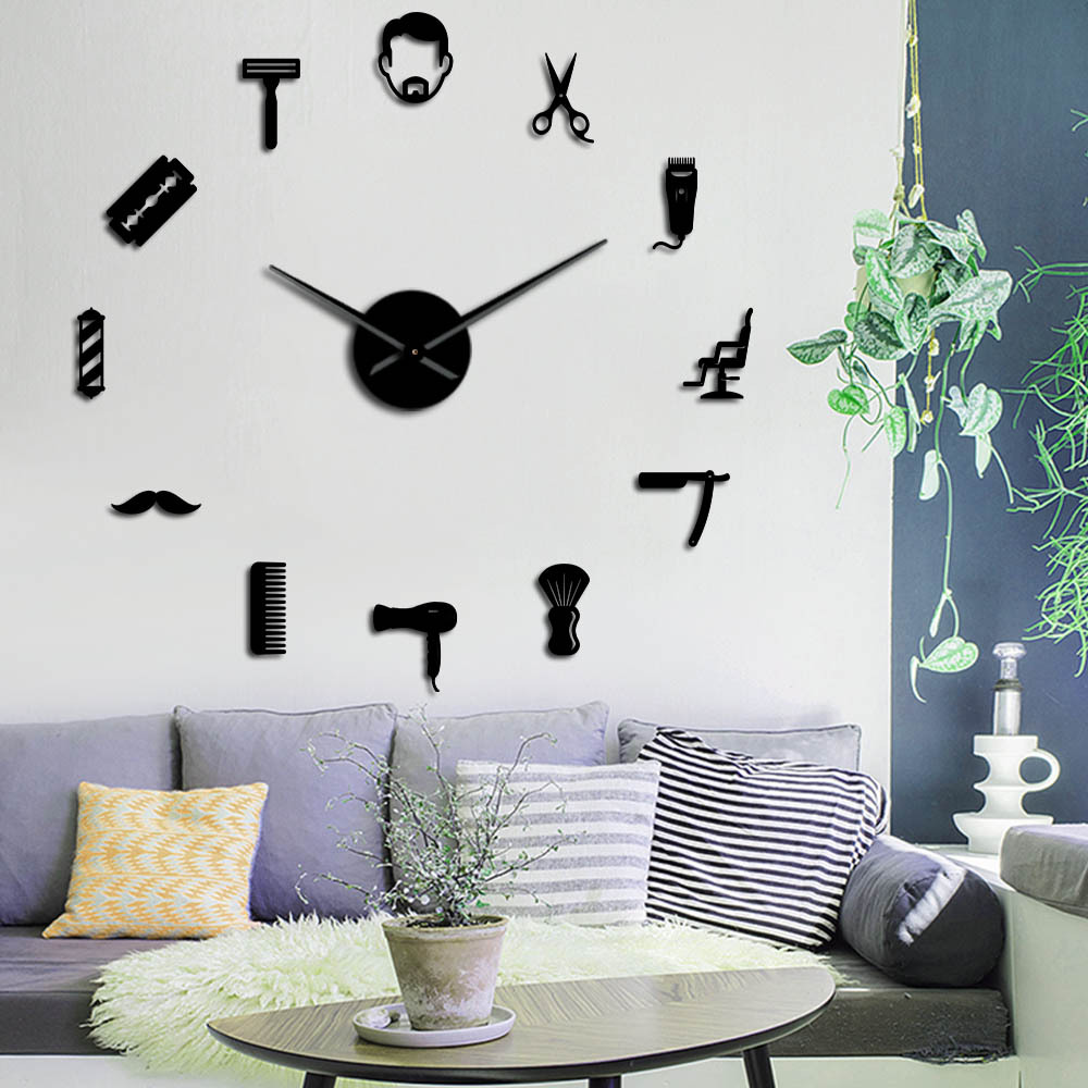 Acrylic Mirror Wall-Watch Kitchen-Clock Oversized Living-Room Large European-Style Diy