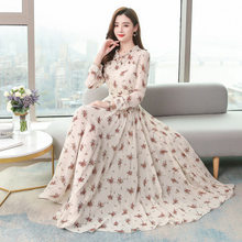 Early spring 2020 new collection waist show high and thin long large print fairy long-sleeved dress retro large size
