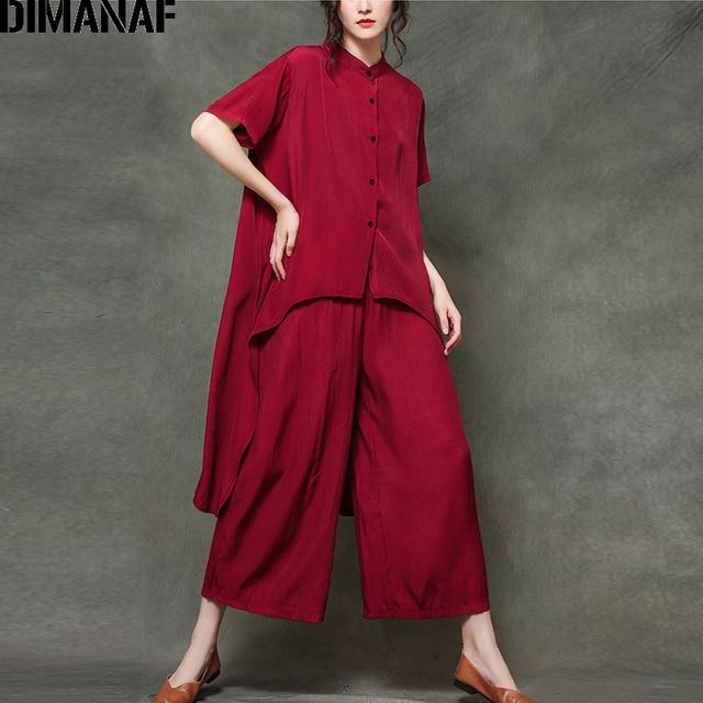 Plus Size Sets Suit Casual Elegance  Tops  Loose Long Pants  1