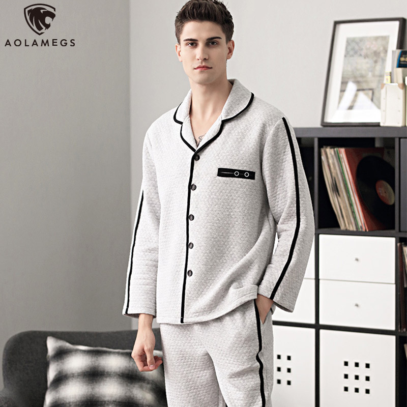 Aolamegs Men Pajamas Set Side Stripe Sleepwear Cotton Soft Thick Fashion Plus Size Simple Style Advanced Warm Pajamas Winter