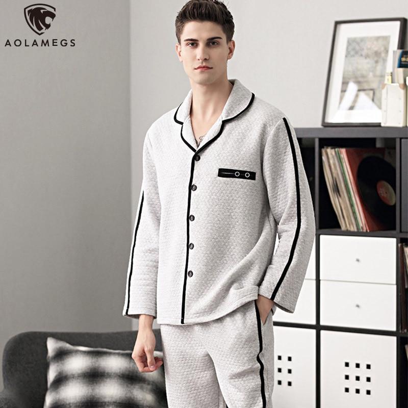 Aolamegs Men Pajamas Set Side Stripe Sleepwear Cotton Soft Thick Fashion Plus Size Simple Style Advanced Warm Pajamas Winter