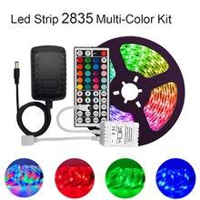 СИД полосные осветители для 2835 мульти Цвет комплект IP65 Водонепроницаемый Гибкая RGB 300 светодиоды с 44 клавишным пультом управления AC/DC 12V Питание для использования внутри помещений