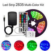 Luzes de tira conduzidas 2835 multi-color kit ip65 impermeável rgb flexível 300leds com 44 chave remoto dc 12 v fonte de alimentação para interior