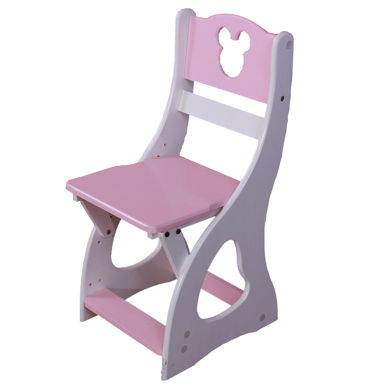Solid Wood Children's Cartoon Can Adjust The Height Upright Posture Backrest Seat For Pupils To Learn The Chair Lift Stool.