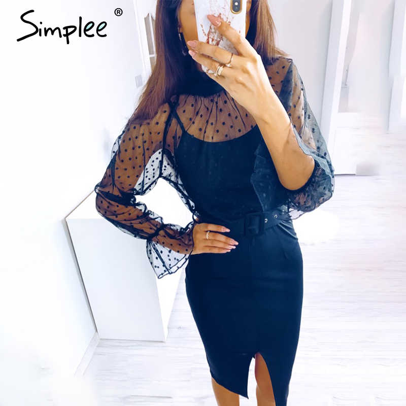 Simplee Sexy striped lace women dress Black polka dots belt sheath party dress Puff sleeve autumn winter office ladies dress