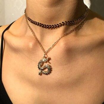 JJFOUCS, двухслойная Золотая цепочка, ожерелье-чокер со стрелой для женщин и мужчин, винтажное ожерелье с подвеской в виде дракона, мужские ювелирные изделия, подарки