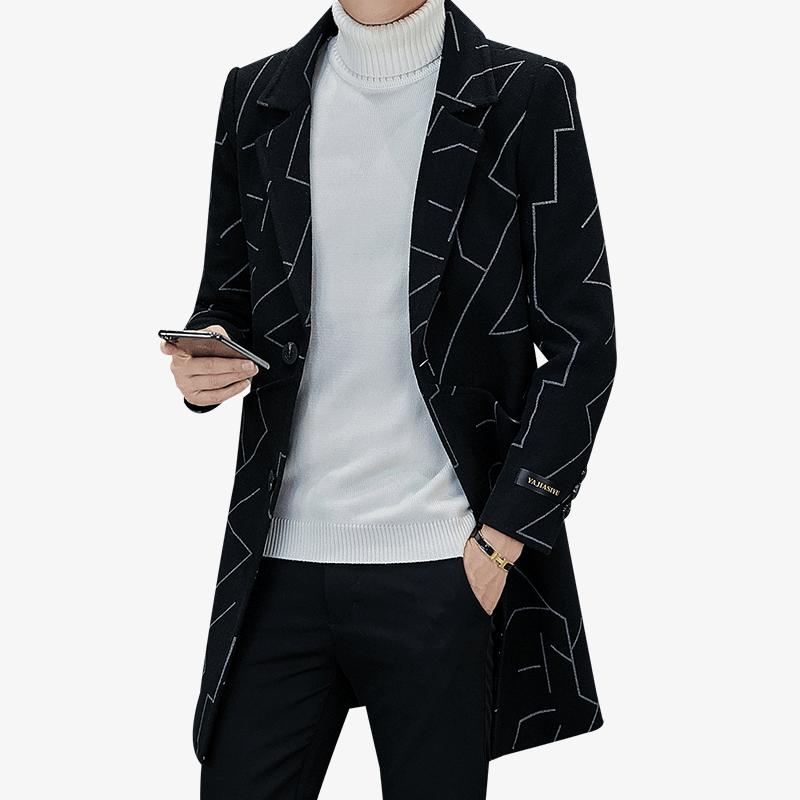 2019 brand Wool Blends Coats long jacket men Casual Overcoat winter mens trench coat Fashion Business formal Windbreaker Jackets