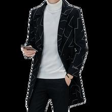 2019 brand Wool Blends Coats long jacket men Casual Overcoat