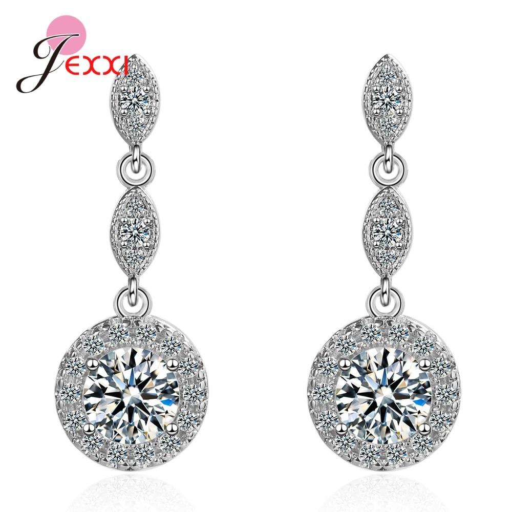 Glittering Long Tassel 925 Sterling Silver Full Rhinestone Drop Earrings Luxury Women Party Wedding Jewelry Gifts