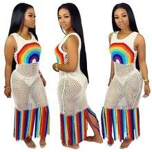 Пляжное женское длинное платье летнее в стиле бохо вязаное с