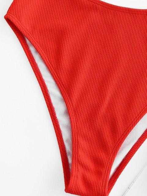 Zaful Ferretto A Coste A Vita Alta Bikini Set Gamba Tankini Costume Da Bagno Costumi Da Bagno di Colore Solido